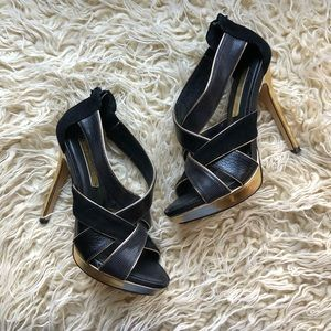 BCBGMaxAzria Black & Gold Heels